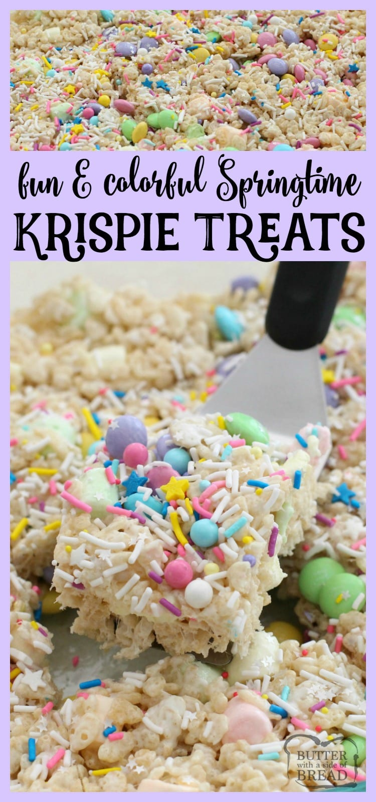 Super fun & easy to make, these Spring Krispie Treats are amazing! The extra butter and marshmallows helps too I'm sure. LOVE the added sprinkles! Easy dessert recipe from Butter With A Side of Bread