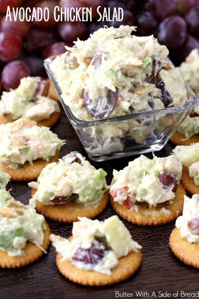 I'm a huge fan of chicken salad! I have no idea why it took me so long to add avocado, but trust me- I'll never make chicken salad without it again. I love to just eat it with a fork but putting it atop RITZ® crackers is fantastic! Growing up we always had RITZ® in the pantry and now that I'm a mom ( x 5!) I appreciate finding a great snack that my kids love. One sleeve of RITZ® lasts about 30 minutes in our house- thank heavens for the family sized boxes! We love the Honey Wheat variety, but with so many options of RITZ® crackers to choose from, try several and see which one you like best! This recipe is a lovely blend of sweet and savory, crunchy and soft. It goes together so well and is a real crowd pleaser.