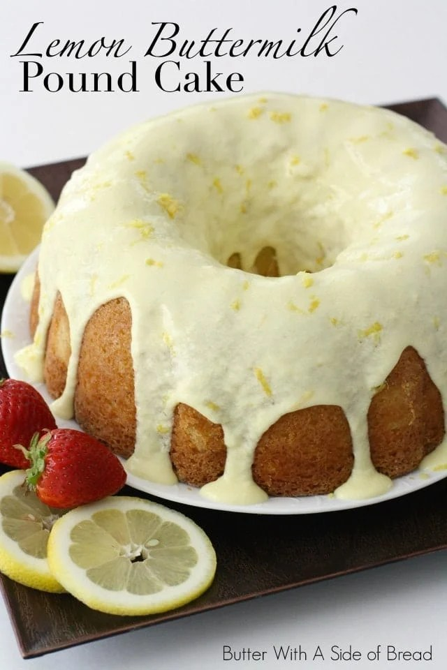 Lemon Buttermilk Pound Cake is the perfect light and refreshing dessert with a hint of lemon flavor in the cake, as well as a delicious lemon glaze on top.