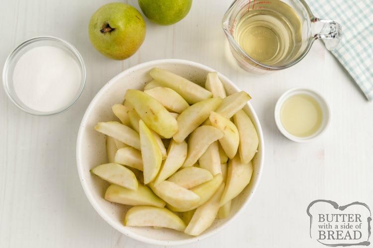 Ingredients in sorbet with fresh pears