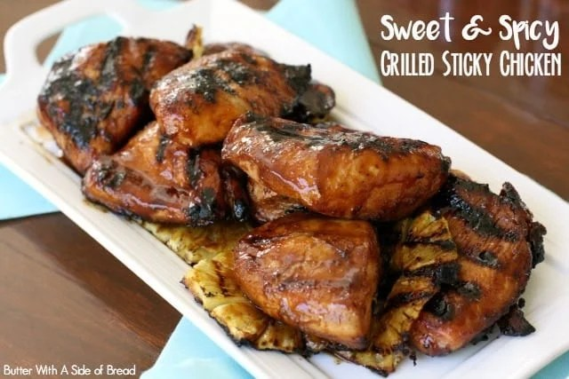 This Grilled Sticky Chicken recipe uses a tangy chicken marinate with a nice kick of spice and flavor! The sauce is easy to make and results in a sticky glaze on top tender, juicy grilled chicken.
