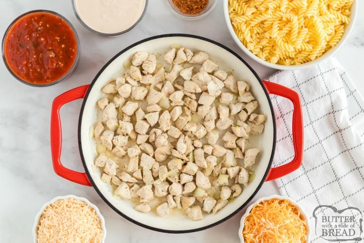 Ingredients in southwestern chicken alfredo pasta bake