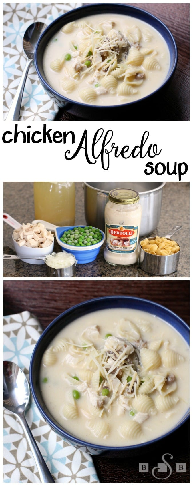 "Chicken Alfredo Soup is a simple and quick recipe for a warm and yummy ""comfort-food"" soup with the delicious twist of adding Alfredo sauce!"