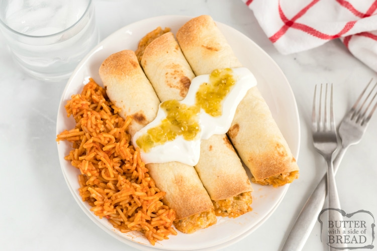 Baked Chicken Taquitos are full of chicken and cheese and lots of salsa and spices to give this delicious homemade taquito recipe tons of flavor. This easy dinner recipe is easy to make and everyone in the family loves it when it's on the menu!