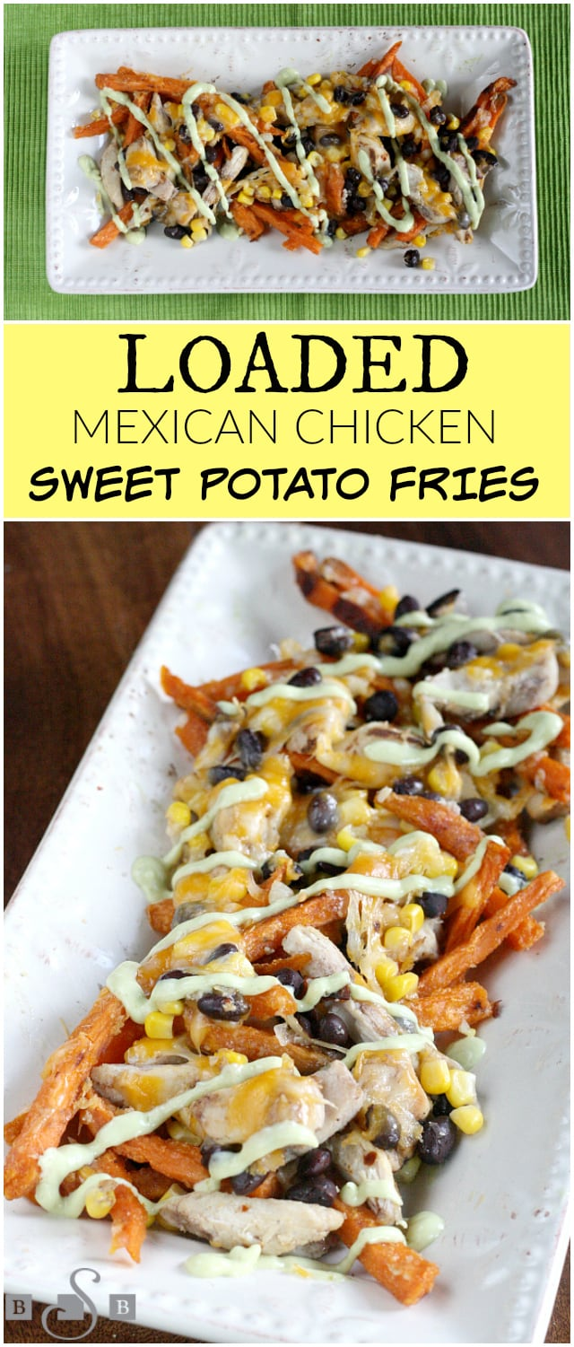 Loaded Sweet Potato Fries with Mexican flavors for a tasty dinner! Sweet Potato Fries topped with spiced chicken, beans, corn & cheese for a fun variation on fries.