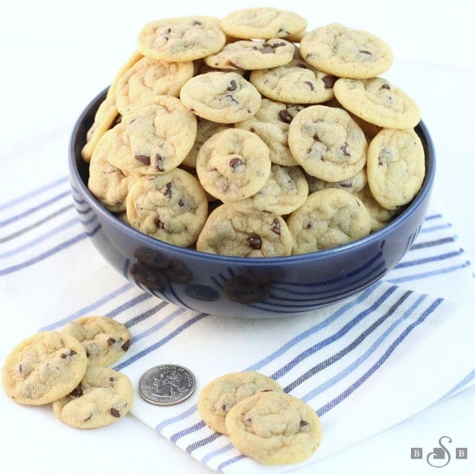 Mini Chocolate Chip Cookies are teeny tiny chocolate chip cookies about the size of a quarter! Soft,chewy poppable cookies that are perfect for parties.