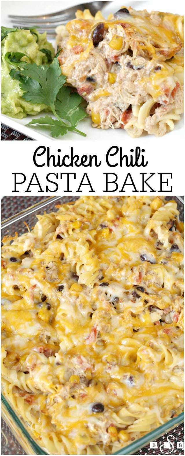From the original Chicken Chili recipe, I created a Chicken Chili Pasta Bake and also a delicious Chicken Chili salad. Add a few garnishes and your meal is complete!