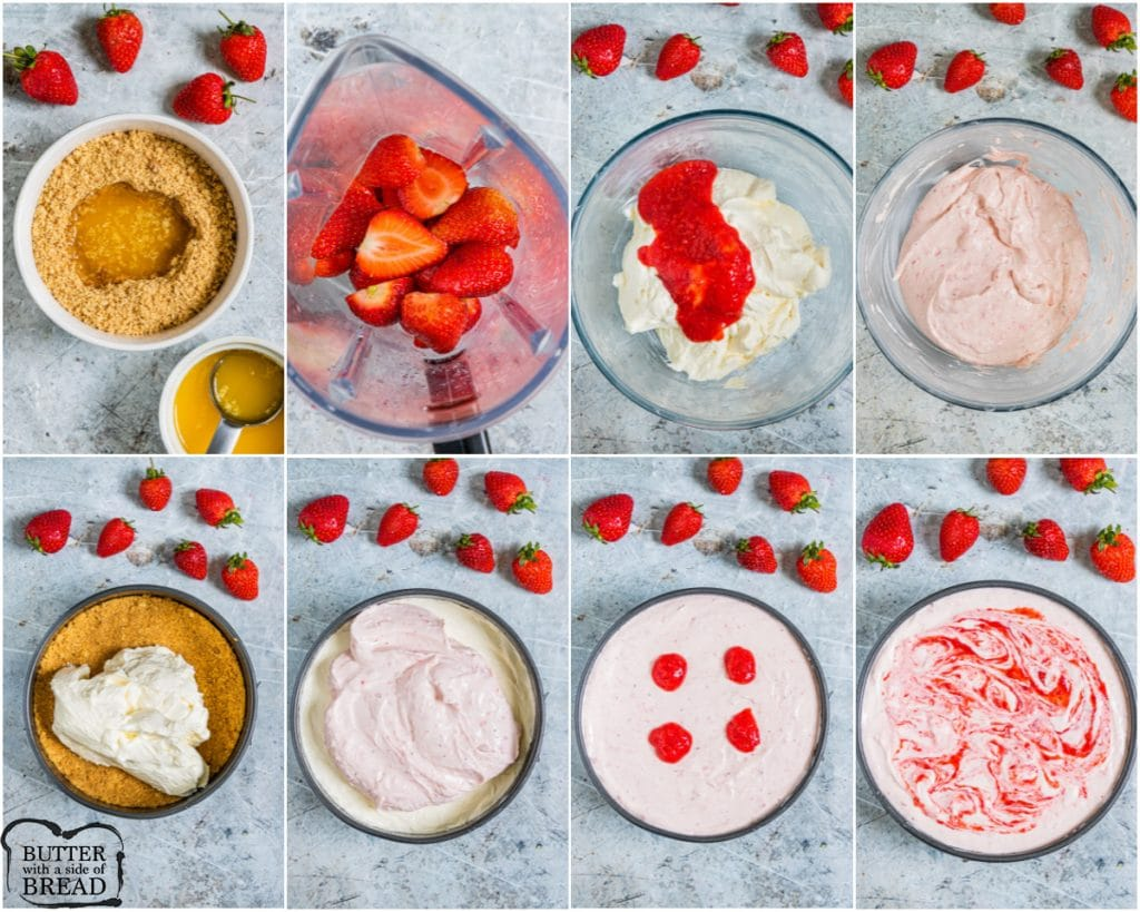 Step by step showing how to make no bake strawberry cheesecake