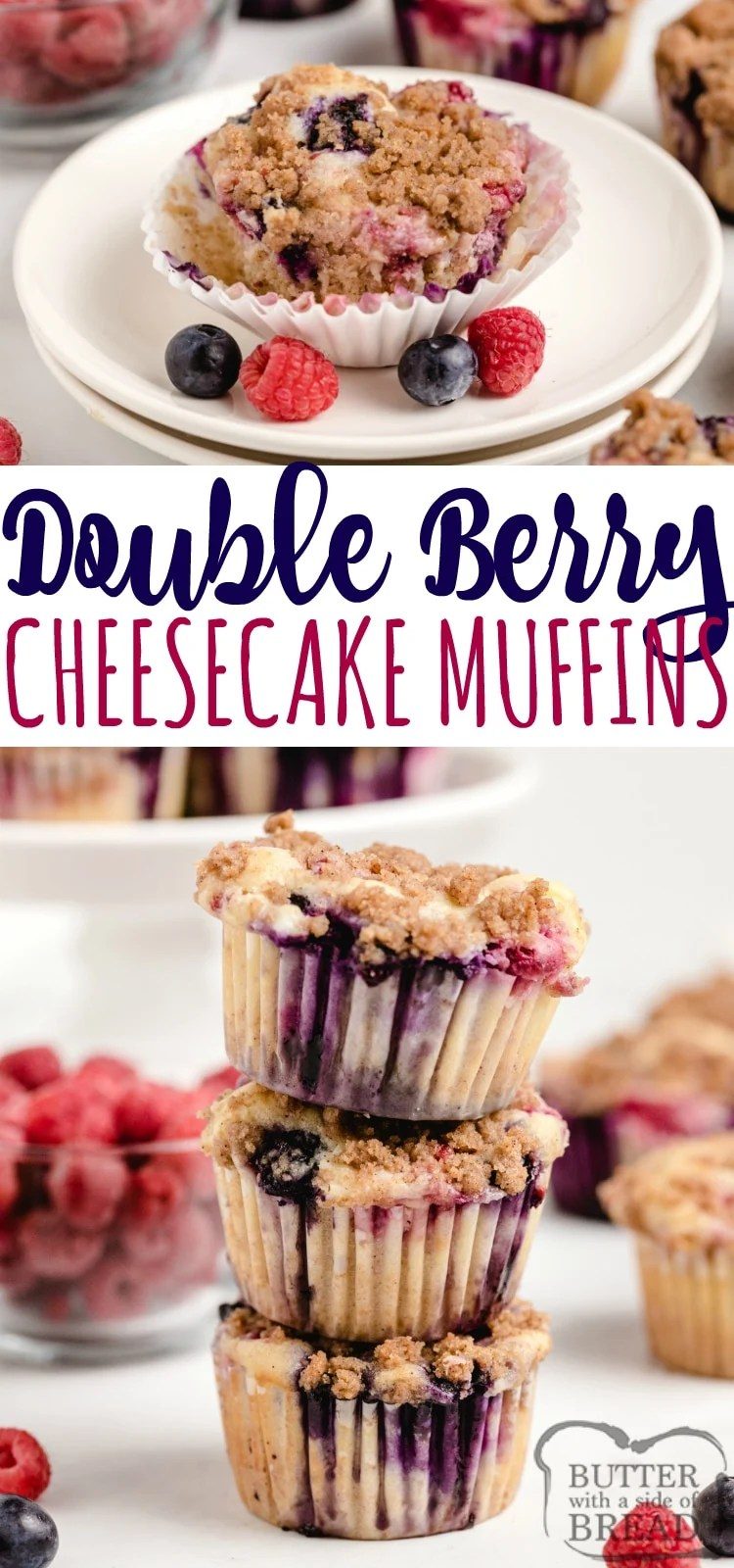 Double Berry Cheesecake Muffins are full of fresh blueberries and raspberries and have a delicious cream cheese filling in the middle! The brown sugar streusel topping adds even more flavor and a little bit of crunch too!