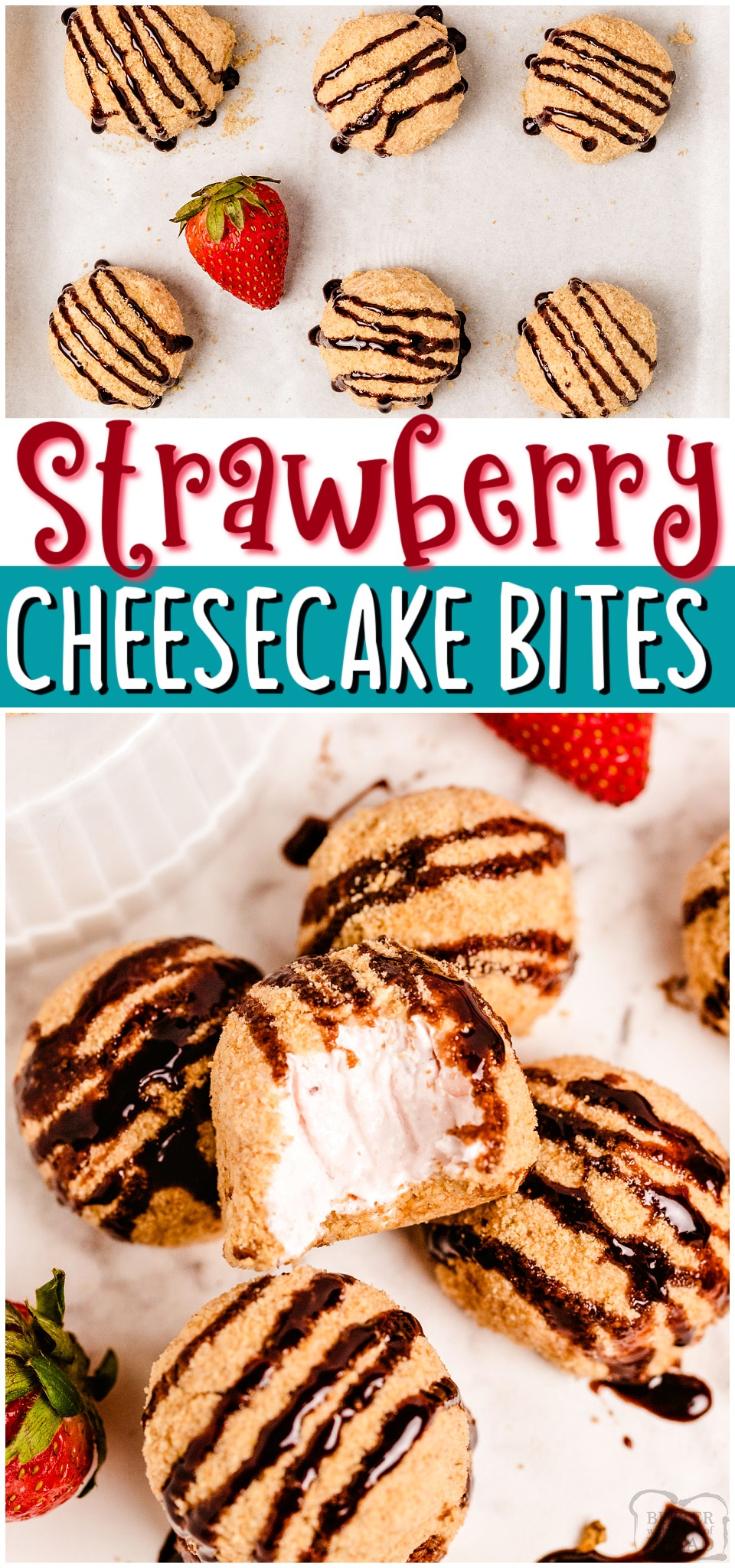 Easy Strawberry Cheesecake Bites made with fresh strawberries & cream cheese; rolled into bite-sized morsels and coated with graham cracker crumbs. Tasty strawberry cheesecake balls drizzled with hot fudge for the perfect party treat!