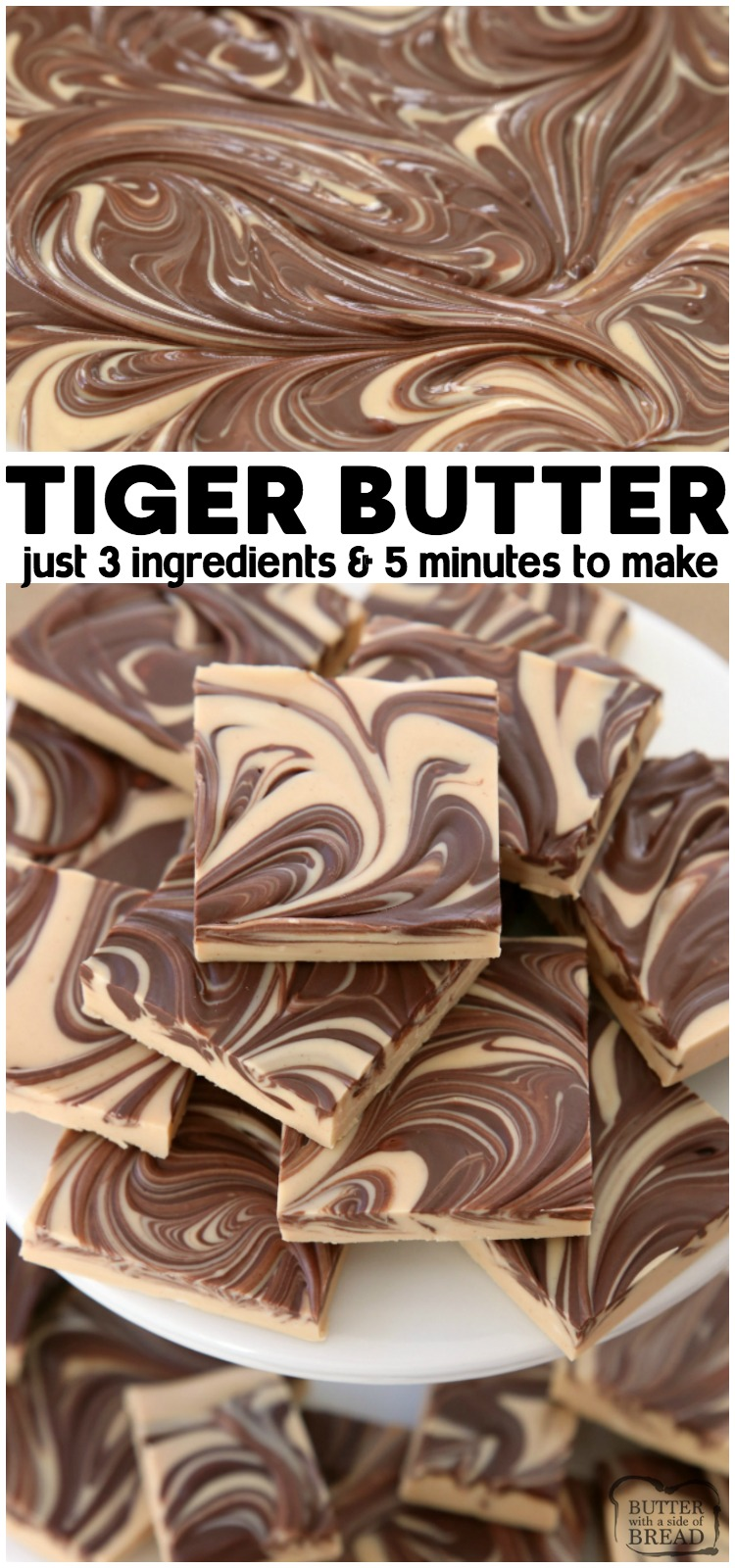 Tiger Butter made from 3 ingredients that are melted & swirled together in minutes. Gorgeous holiday candy recipe with rich & creamy peanut butter chocolate flavor.
