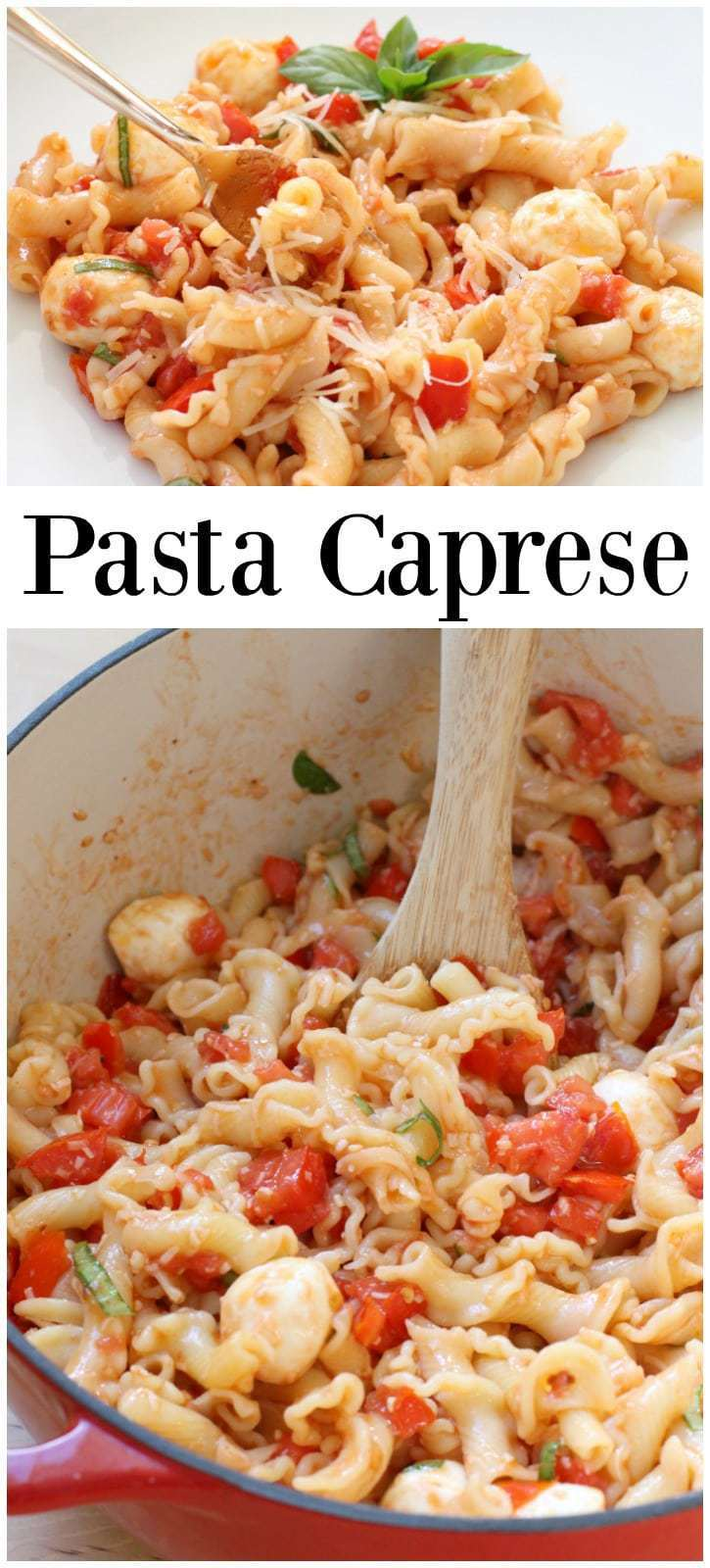 So many fabulous fresh flavors in this easy-to-make meatless Pasta Caprese! This delicious dish is perfect for weeknight dinners or to entertain guests!
