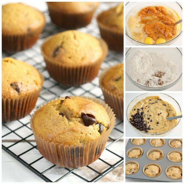Pumpkin Chocolate Chip Muffins are delicious and can be served as a snack, breakfast or even dessert if you add enough chocolate chips!