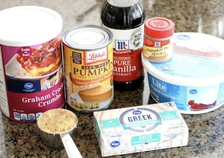 ingredients needed to make no bake skinny pumpkin cheesecake
