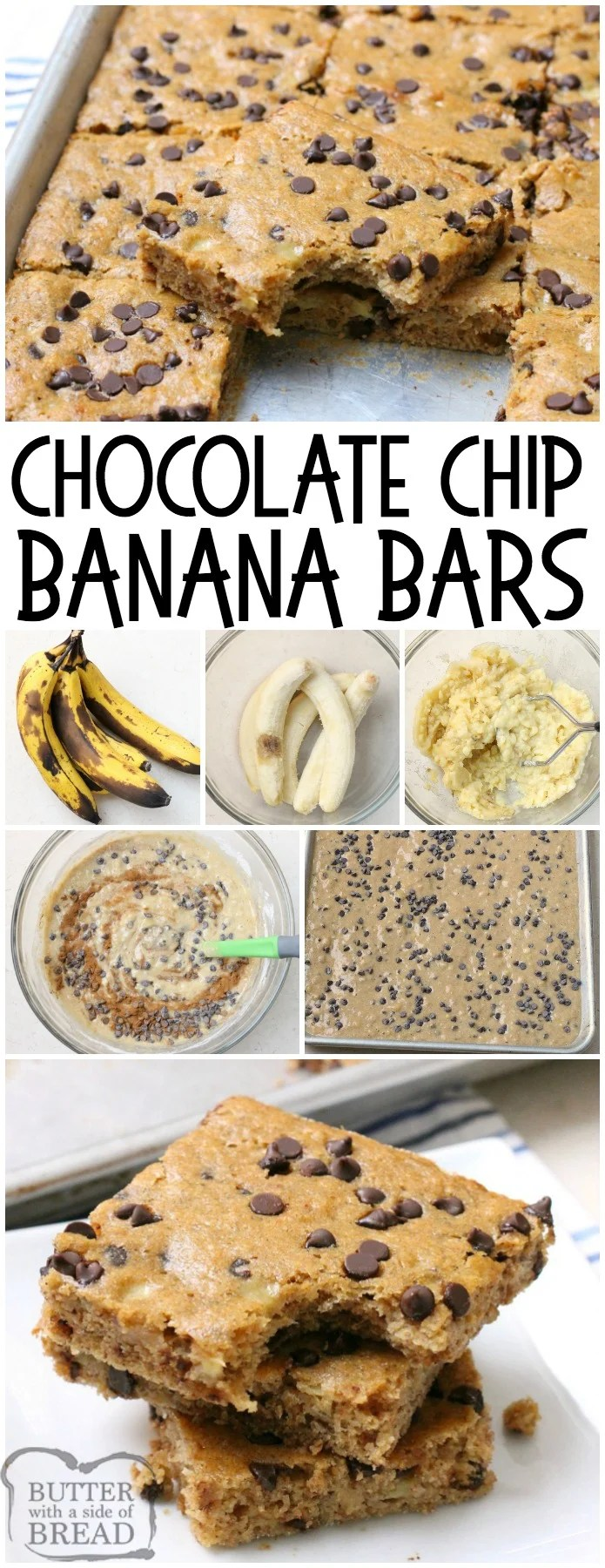 Chocolate Chip Banana Bars are a simple & delicious ripe banana recipe that's even better than banana bread! Great for breakfast, lunch and even dessert! Check out all the 5 star reviews- everyone raves about this easy banana recipe!