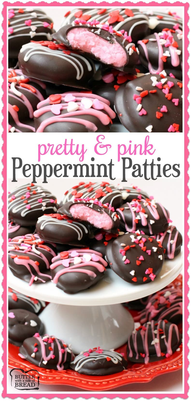 Homemade Pink Valentines Peppermint Patties - a simple, easy to make treat perfect for your Valentine! Butter With A Side of Bread