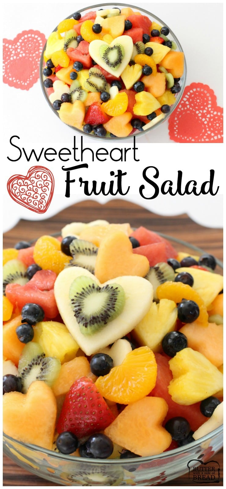 This sweetheart fruit salad requires just a little extra effort, but makes this lovely take on a classic fruit salad perfectly suited for Valentine's Day!