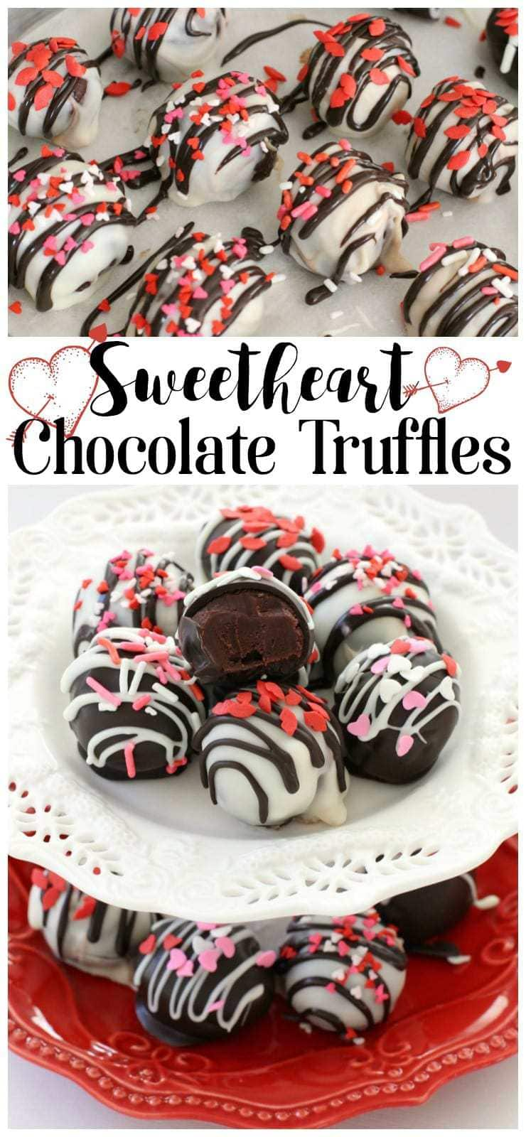 These simple Chocolate Sweetheart Truffles are smooth, creamy and perfectly sweet; your sweetheart will swoon over these tasty little treats!