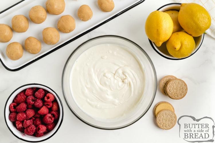 Ingredients to make lemon raspberry oreo balls