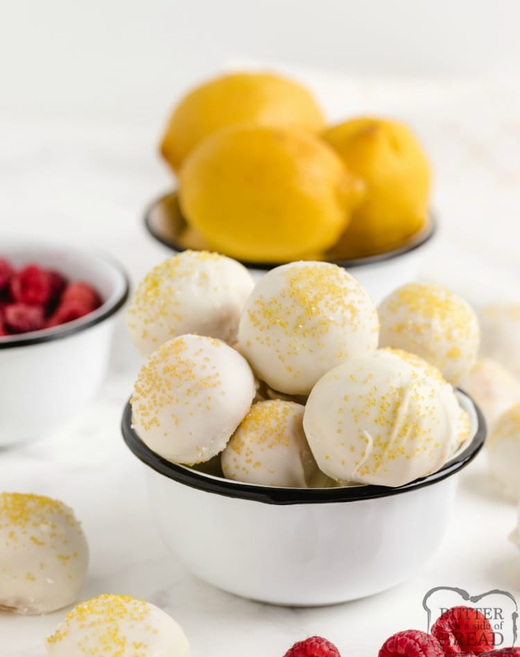 Lemon Oreo Balls with fresh raspberry in the middle
