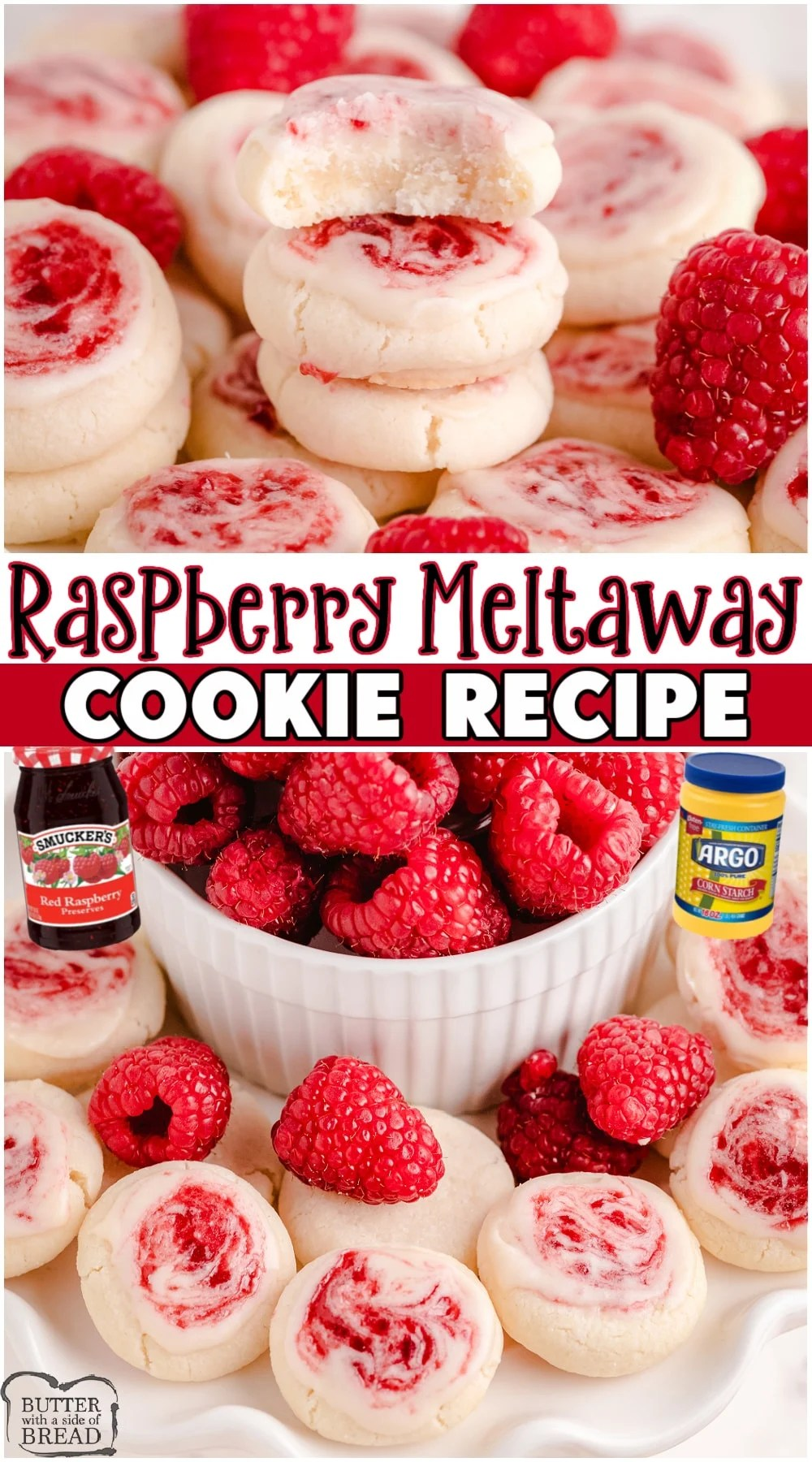 Raspberry Meltaway Cookies are soft & delicate & truly melt in your mouth! Perfect vanilla cookies topped with a sweet glaze swirled with raspberry jam. #cookies #raspberry #meltaways #baking #dessert #easyrecipe from BUTTER WITH A SIDE OF BREAD