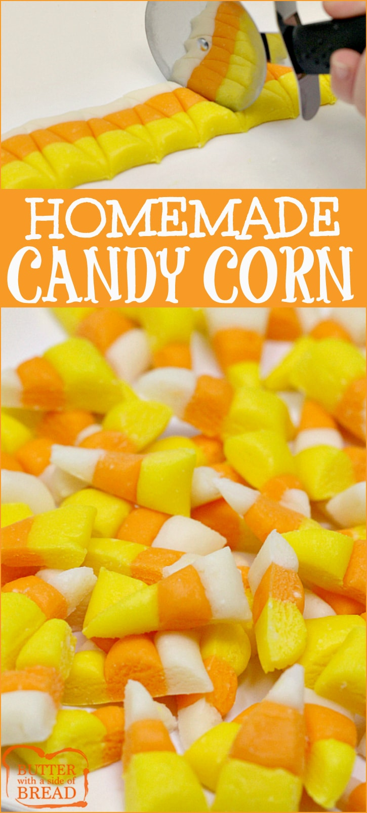 Homemade Candy Corn is easy to make and even more delicious than the store-bought version of this favorite Halloween treat!