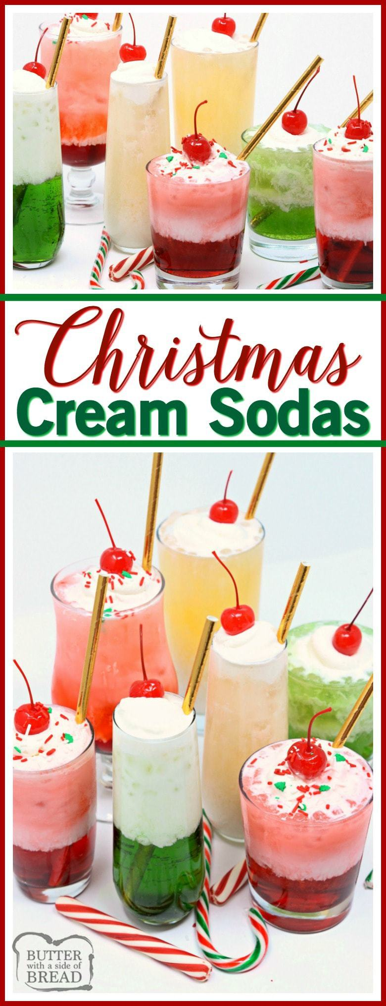 Christmas Cream Sodas made with sweet syrups, cream & club soda are a delicious & festive addition to any holiday party! Delicious mocktail that's so easy!