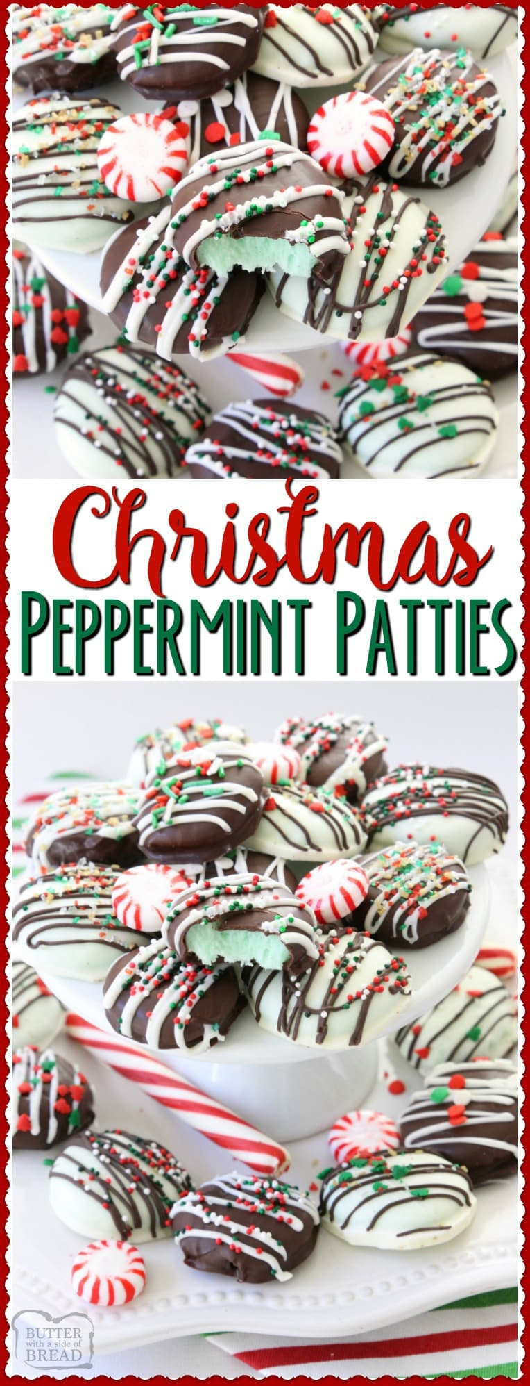 Christmas Peppermint Patties made easy with few ingredients! Perfect fun & festive dessert for holiday parties & gifts. They taste so much better homemade!