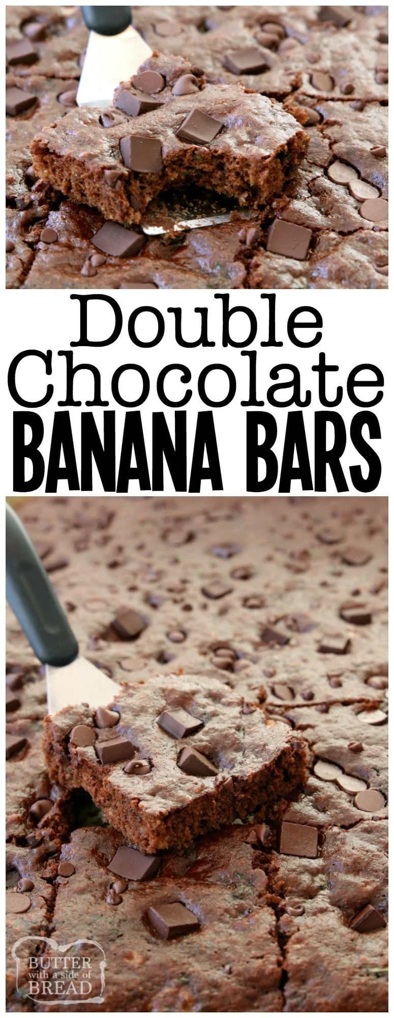 Double Chocolate Banana Bars made with 5 bananas & double the chocolate for a tasty banana recipe that everyone enjoys. Not too sweet & perfect anytime!