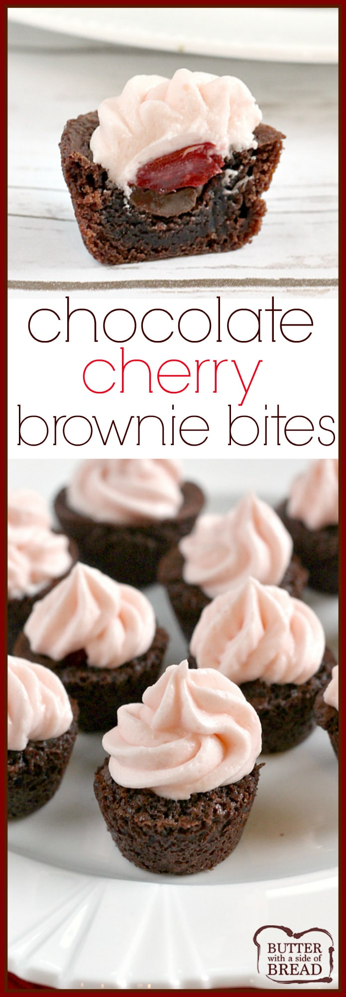 Chocolate Cherry Brownie Bites are mini brownies filled with chocolate chips, maraschino cherries and then topped with a cherry flavored cream cheese frosting!