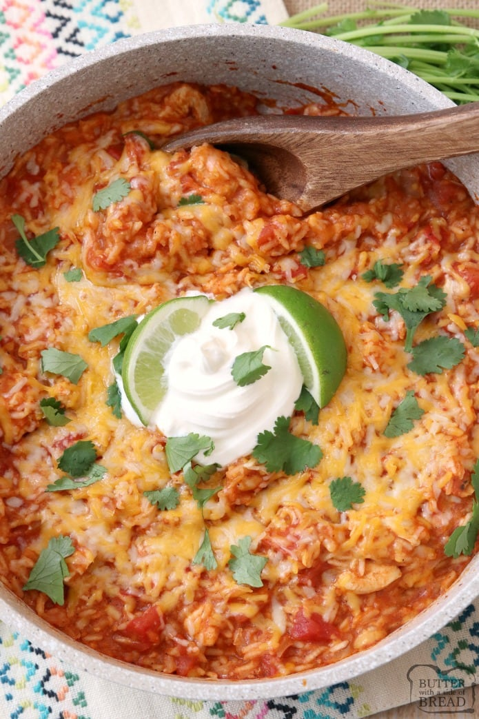 Cheesy Chicken & Spanish Rice is a quick & easy weeknight meal! Great flavor in this comforting One-Pot Spanish Rice recipe with added chicken and cheese. Can be made on the stove or in an Instant Pot! Spanish Rice recipe from Butter With A Side of Bread