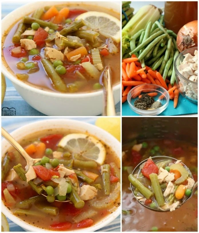 Lemon Chicken Vegetable Soup is a light & delicious broth-based vegetable soup recipe with the addition of tender chicken and fresh lemon. Chocked full of fresh vegetables like green beans, asparagus, carrots and tomatoes. Perfect for the cool days of early Spring, or anytime really!