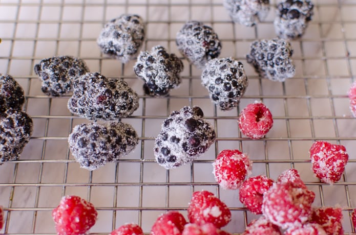 berries that have been sugared by covering with a small amount of whipped egg white and then rolled into sugar.
