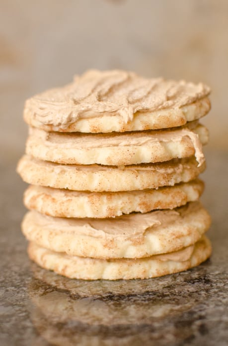 soft cinnamon and sugar snickerdoodle cookies with a maple frosting