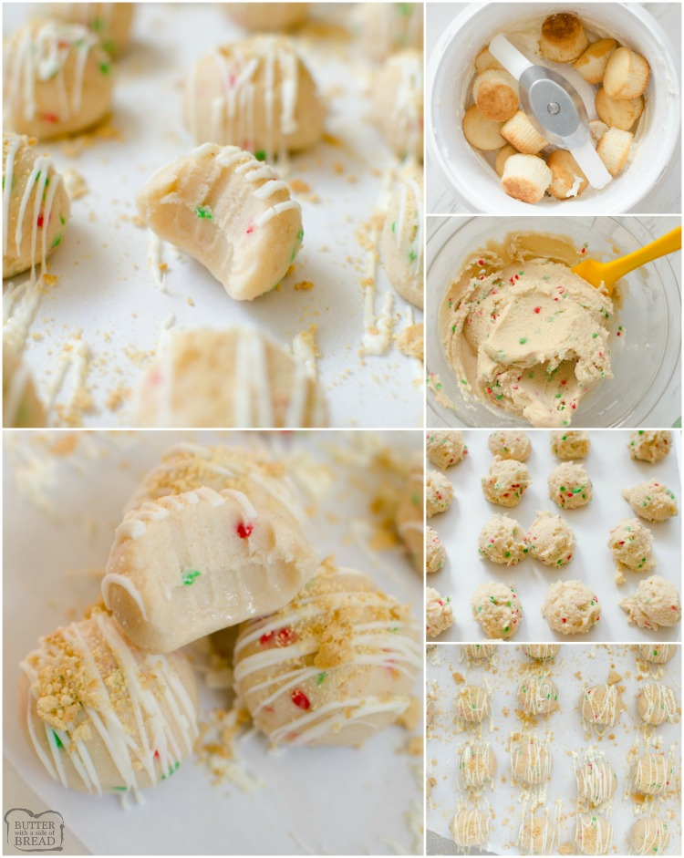 Vanilla Cake Balls are an easy dessert made from cake and homemade vanilla buttercream frosting. Simple to make cake ball recipe that everyone loves! Make your Cake Balls festive for Christmas by adding in colored sprinkles!