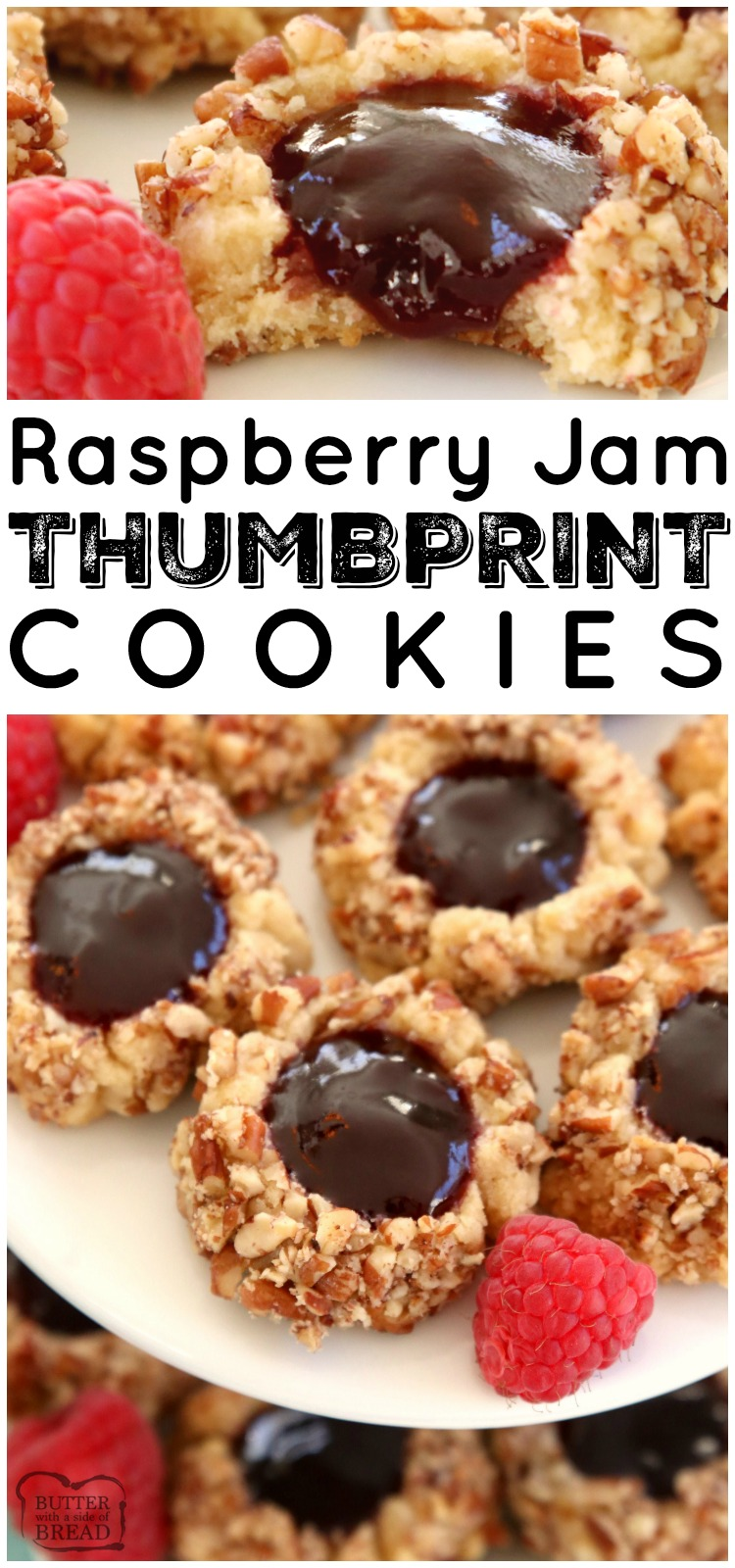 Raspberry Jam Thumbprint Cookies are a classic shortbread cookie rolled in pecans, baked & filled with sweet raspberry jam. Buttery Christmas cookie recipe that everyone looks forward to for holiday cookie exchanges! #Cookies #thumbprint #baking #Christmas #holidays #raspberry #jam #thumbprintcookies #recipe #dessert from BUTTER WITH A SIDE OF BREAD