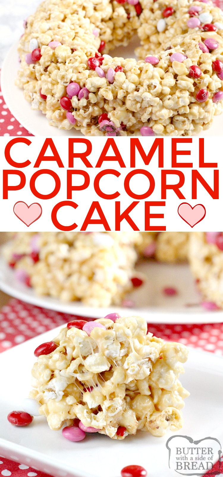 Caramel Popcorn Cake is made with caramel, marshmallows and a few other basic ingredients for a quick and easy no-bake dessert.