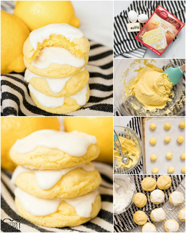 Lemon Cake Mix Cookies are soft & delicious lemon cookies made using a Lemon Cake Mix, butter and eggs. Topped with a sweet lemon glaze, this quick & easy lemon cake mix cookie recipe is the best!