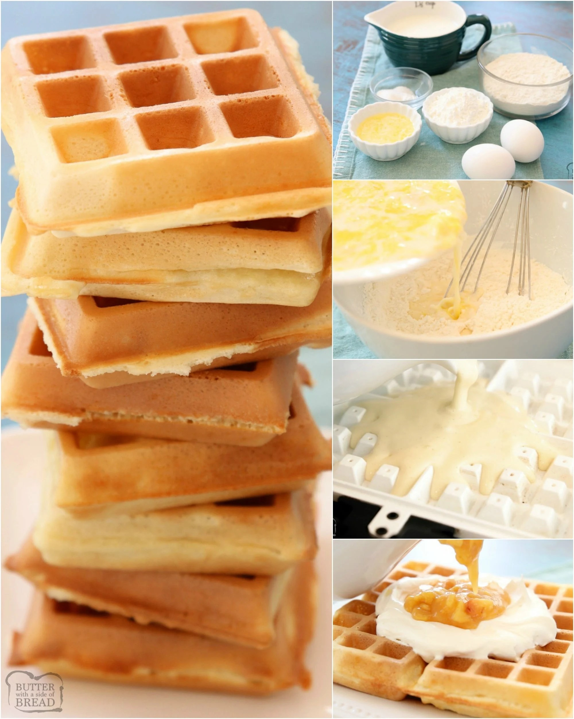 BEST Crispy Belgian Waffle recipe with 4 tips that make these the BEST waffles ever! Simple waffle recipe that everyone loves.