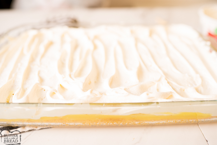 whipped cream on lemon cake