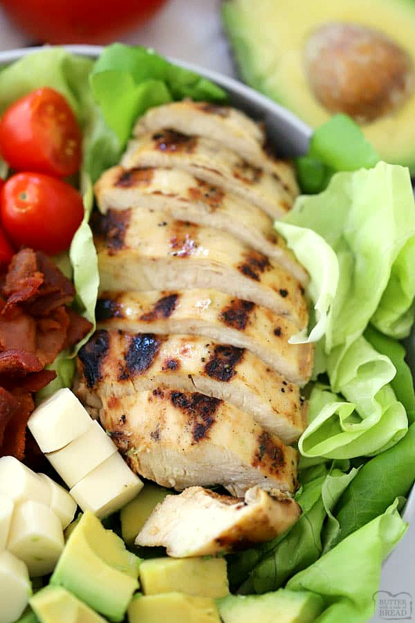 grilled chicken with bacon lettuce and tomato salad