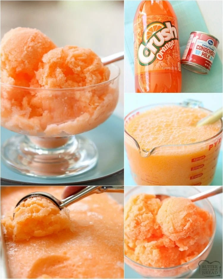Quick & Easy Orange Sherbet recipe made with just 2 ingredients! Sweet Orange Sherbet perfect for a hot summer day.
