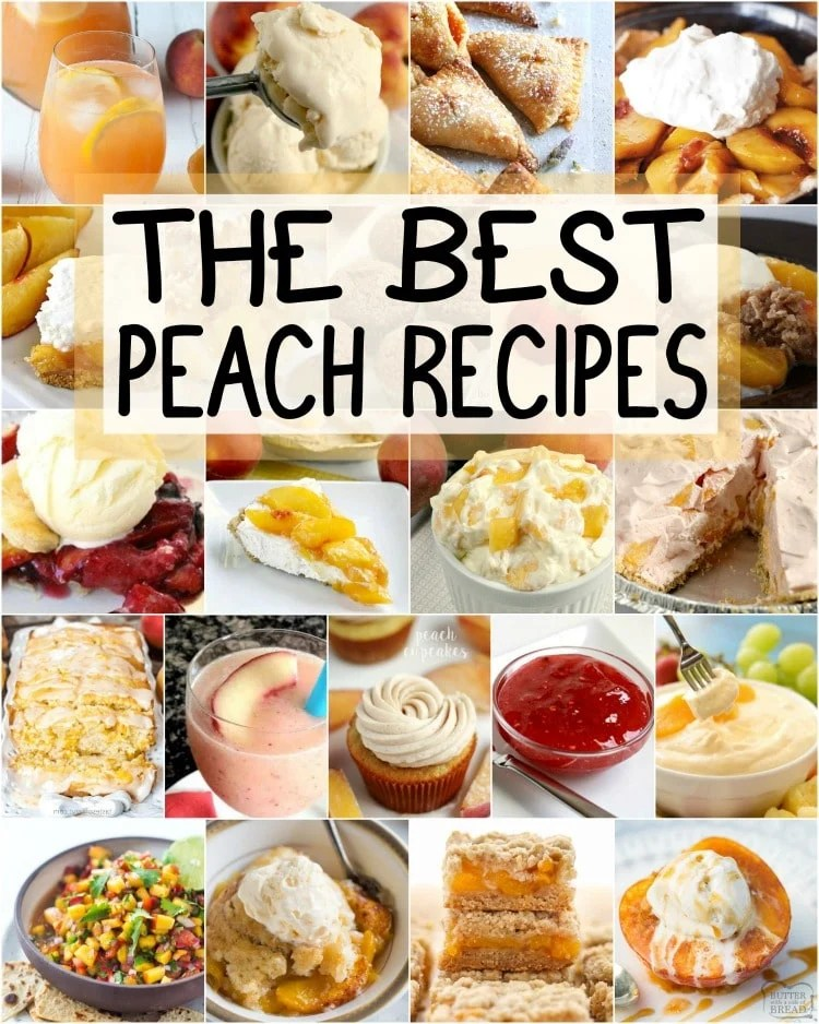 The VERY best peach recipes ever! Everything from Peach cobbler andpeach crisp topeach pie andpeaches & cream salad! Here's what you should make with those fresh peaches.