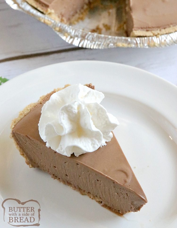 Hershey Chocolate Pie is a no-bake chocolate pie made with melted marshmallows, melted Hershey bars and real whipped cream in a graham cracker crust. This easy chocolate pie recipe is so simple to make and is rich, chocolatey and absolutely delicious!