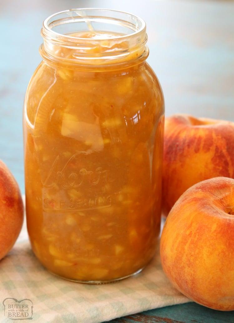 homemade peach syrup in a jar