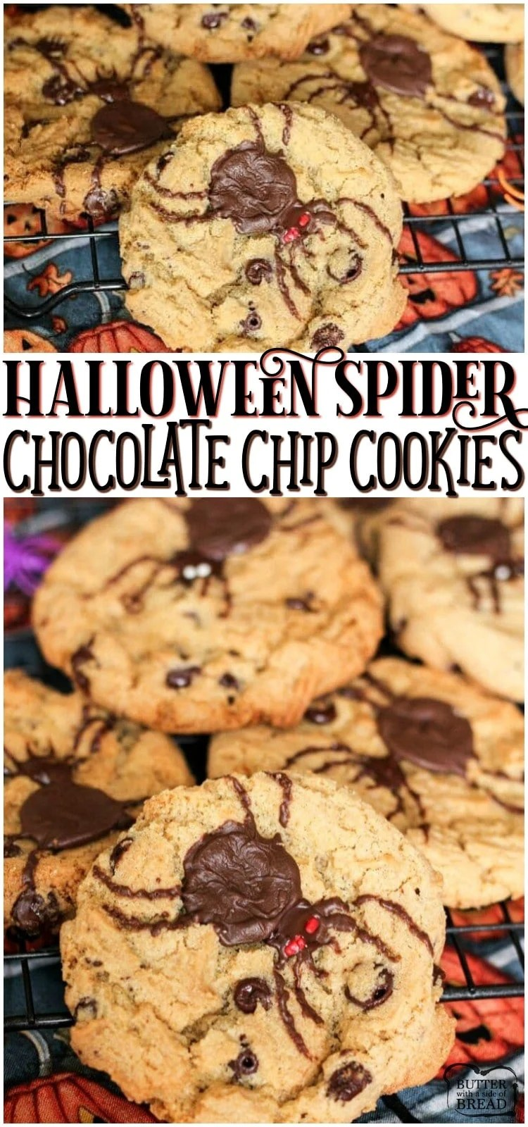 Halloween Spider Cookies are so much fun to make! A classic cookie recipe takes a creepy turn with a giant chocolate spider on top! Perfect addition to Halloween. #spider #cookies #Halloween #chocolate #baking #dessert from BUTTER WITH A SIDE OF BREAD