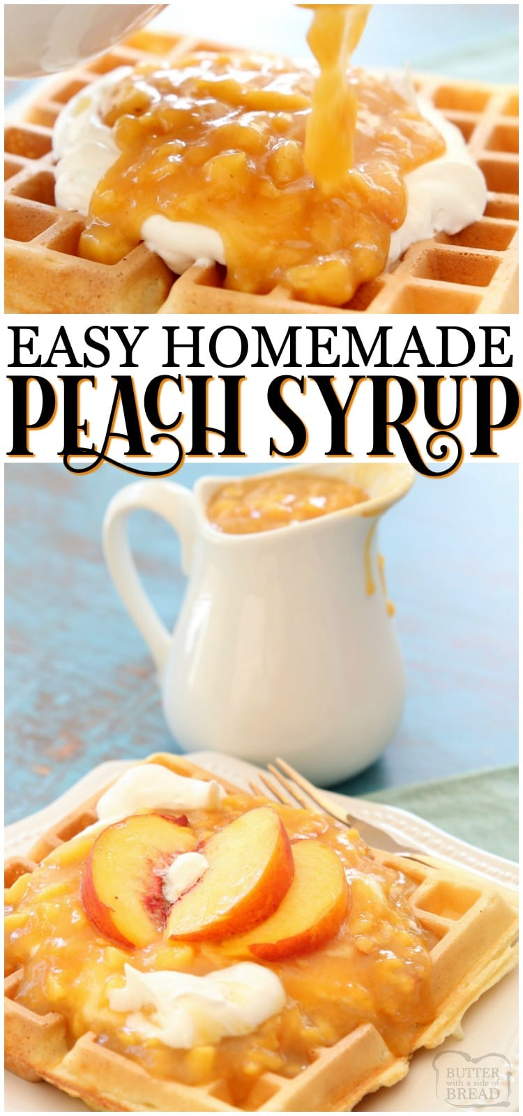 Chunky Peach Syrup made easy in 10 minutes in the microwave! Bursting with sweet peach flavor, this Homemade Peach Syrup is a fantastic way to use fresh peaches! #peach #syrup #homemade #recipe #peaches from BUTTER WITH A SIDE OF BREAD