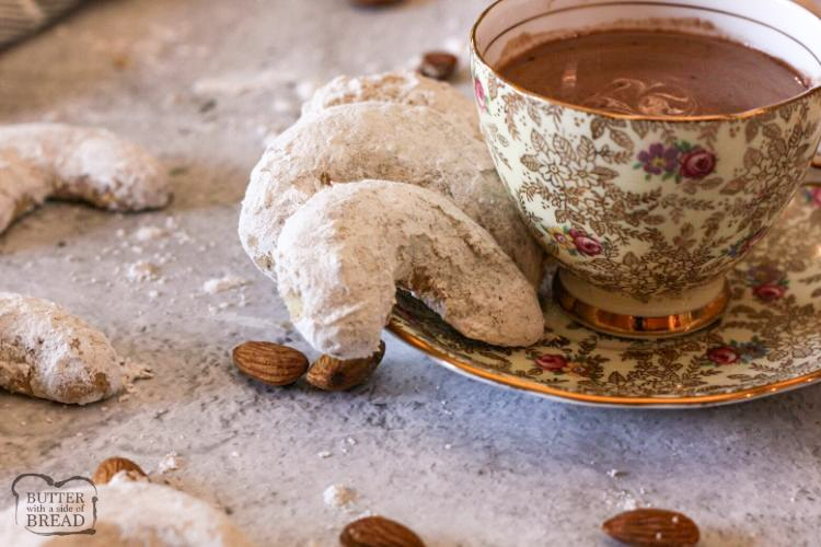 Almond Crescent Cookies go great with a cup of hot chocolate!