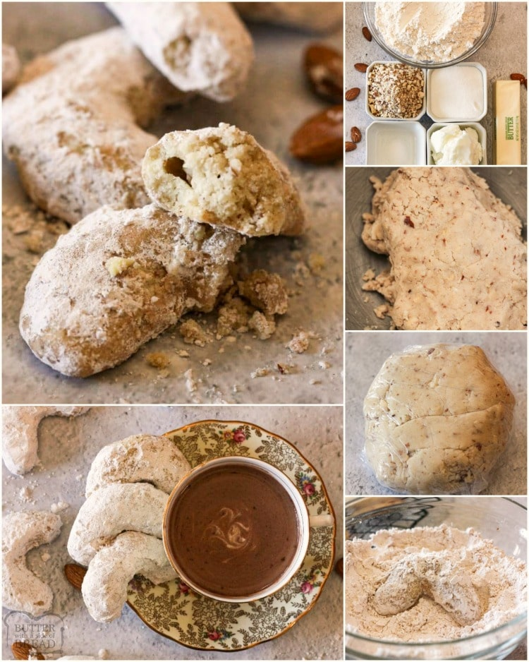 Almond Crescent Cookies are a Christmas favorite! Delicious shortbread cookies, filled with almonds & covered in powdered sugar. These are simple & elegant; perfect for cookie parties, neighbor gifts & dipping in hot cocoa.