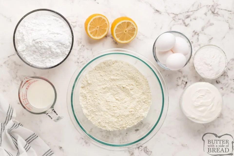 Ingredients in Mini Lemon Drop Cupcakes with a lemon glaze